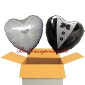 2 Hochzeitsballons, Luftballons zur Hochzeit, Brautpaar, inklusive Ballongas Helium