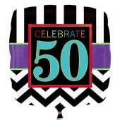 Luftballon aus Folie mit Helium, Celebrate 50, zum 50. Geburtstag