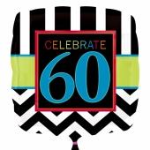 Luftballon aus Folie mit Helium, Celebrate 60, zum 60. Geburtstag
