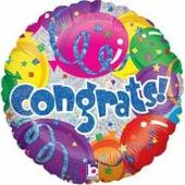 Congrats, holografischer Folienballon, ohne Helium- Ballongas