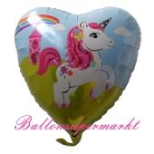 Herzluftballon aus Folie, Einhorn, ohne Helium-Ballongas