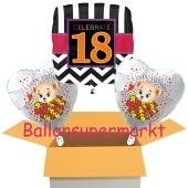 3 Luftballons aus Folie zum 18. Geburtstag, Celebrate 18 und Baerchen