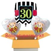 3 Luftballon aus Folie zum 30. Geburtstag, Celebrate 30 und Baerchen
