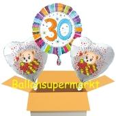 Luftballons aus Folie zum 30. Geburtstag im Karton, 3 Stueck