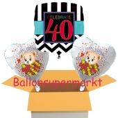 3 Luftballons aus Folie zum 40. Geburtstag, Celebrate 40 und Baerchen
