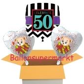 3 Luftballons aus Folie zum 50. Geburtstag, Celebrate 50 und Baerchen