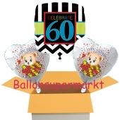3 Luftballons aus Folie zum 60. Geburtstag, Celebrate 60 und Baerchen