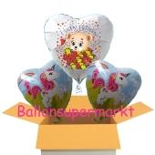 3 Luftballons aus Folie mit Einhorn und Baerchen