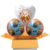 3 Luftballons aus Folie mit Minions und Baerchen