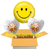 Smiley mit Glückwunsch-Bärchen Luftballons, inklusive Helium-Ballongas