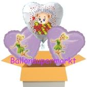 3 Luftballons aus Folie zum Geburtstag mit Tinkerbell und Baerchen