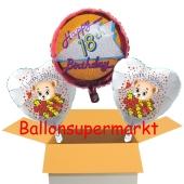 3 Luftballons aus Folie zum 18. Geburtstag mit Baerchen, im Karton