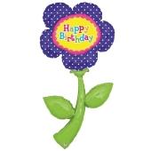 Happy Birthday Blume Folienballon zum Geburtstag