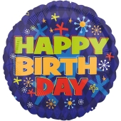 Großer runder Luftballon, Happy Birthday, blau, zum Geburtstag, Ballon ohne Helium