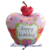 Luftballon Cherry Cupcake, happy Birthday mit Helium, Ballongas