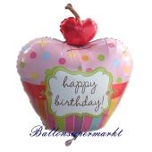 Luftballon, Cupcake Happy Birthday, ohne Helium, Ballongas
