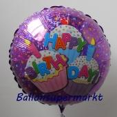 Happy Birthday Cupcakes, Holografischer Luftballon aus Folie zum Geburtstag, ohne Helium