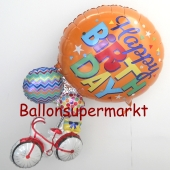 Happy Birthday Cluster Folienballon zum Geburtstag, Fahrrad mit Luftballons