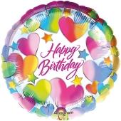 Folienballon Happy Birthday zum Geburtstag mit Herzen und Sternen
