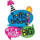 Happy Birthday Wish Big, Sprechblasen, Luftballon zum Geburtstag mit Helium Ballongas