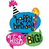 Luftballon Happy Birthday Big Wisch, Sprechblasen zum Geburtstag, ohne Helium