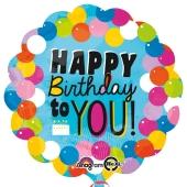 Großer runder Luftballon, Happy Birthday to You, zum Geburtstag, Luftballon mit Helium