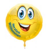 Herzlich Willkommen , Luftballon aus Folie mit Ballongas