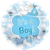 Luftballon mit Helium zu Geburt und Taufe eines Jungen: It's a Boy, Storch