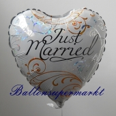 Just Married Herz, holografischer Luftballon aus Folie