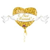 Folienballon Jumbo, Just Married zur Hochzeit, ohne Helium