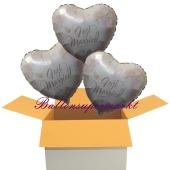 3 Hochzeitsballons, Luftballons zur Hochzeit, Just Married, Rosendekor, inklusive Ballongas Helium
