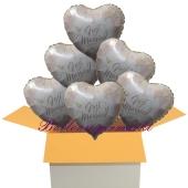 6 Hochzeitsballons, Luftballons zur Hochzeit, Just Married, Rosendekor, inklusive Ballongas Helium