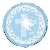 Luftballon Kreuz und Taube, Hellblau zur Taufe, Kommunion