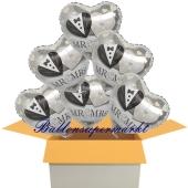 6 Hochzeitsballons, Luftballons zur Hochzeit, Herzballons, Mr and Mrs, inklusive Ballongas Helium