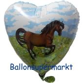 Folienballon, Herz, Pony Inklusive Helium-Ballongas