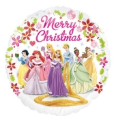 Folienballon Disney Princess, Merry Christmas ohne Helium