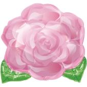 Luftballon aus Folie Rose, rosafarben ohne Helium-Ballongas