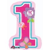 Zahl 1 Luftballon zum ersten Geburtstag Maedchen mit Helium Ballongas