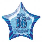 Luftballon aus Folie zum 18. Geburtstag, Happy 16TH Birthday, Prismatik Sternballon 50 cm