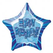 Sternballon, Prismatik, Happy Birthday zum Geburtstag, blau