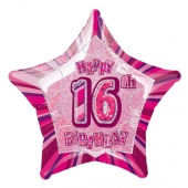 Rosa Luftballon aus Folie zum 16. Geburtstag, Happy 18TH Birthday, Prismatik Sternballon 50 cm