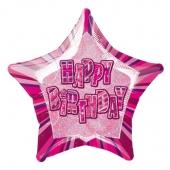 Luftballon aus Folie zum Geburtstag, Happy Birthday, Prismatik Sternballon 50 cm