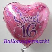 Sweet 16 Luftballon mit Helium Ballongas zum Geburtstag