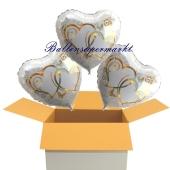 3 Hochzeitsballons, Luftballons zur Hochzeit, Silberhochzeit. Herzballons verschlungene Herzen in gold, inklusive Ballongas Helium