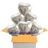 6 Hochzeitsballons, Luftballons zur Hochzeit, Herzballons, verschlungene Herzen in gold, inklusive Ballongas Helium