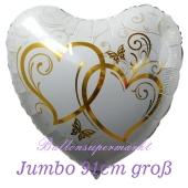 Luftballon aus Folie, Folienballon Herz, Verschlungene Herzen, gold, jumbo