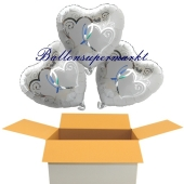3 Hochzeitsballons, Luftballons zur Hochzeit, Silberhochzeit. Herzballons verschlungene Herzen in silber, inklusive Ballongas Helium