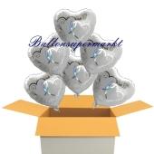 6 Hochzeitsballons, Luftballons zur Hochzeit, Herzballons, verschlungene Herzen in silber, inklusive Ballongas Helium