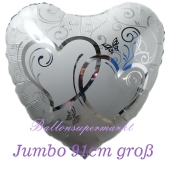 Verschlungene Herzen,Jumbo-Luftballon aus Folie zur Hochzeit