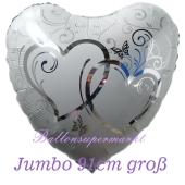 Luftballon aus Folie, Folienballon Herz, Verschlungene Herzen, siber, jumbo